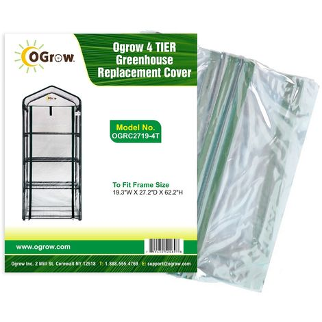 """Replacement PVC Plastic Cover for 4 Tier Mini Greenhouse - 27"""" W x 19"""" D x 62"""" H - Clear"""