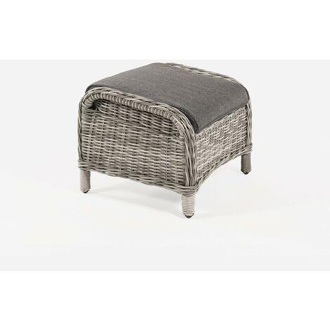 Reposapiés para exterior   Tamaño: 53x59x46 cm   Aluminio y rattán sintético redondo  