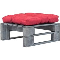Repose-pied palette de jardin avec coussin rouge Bois gris FSC