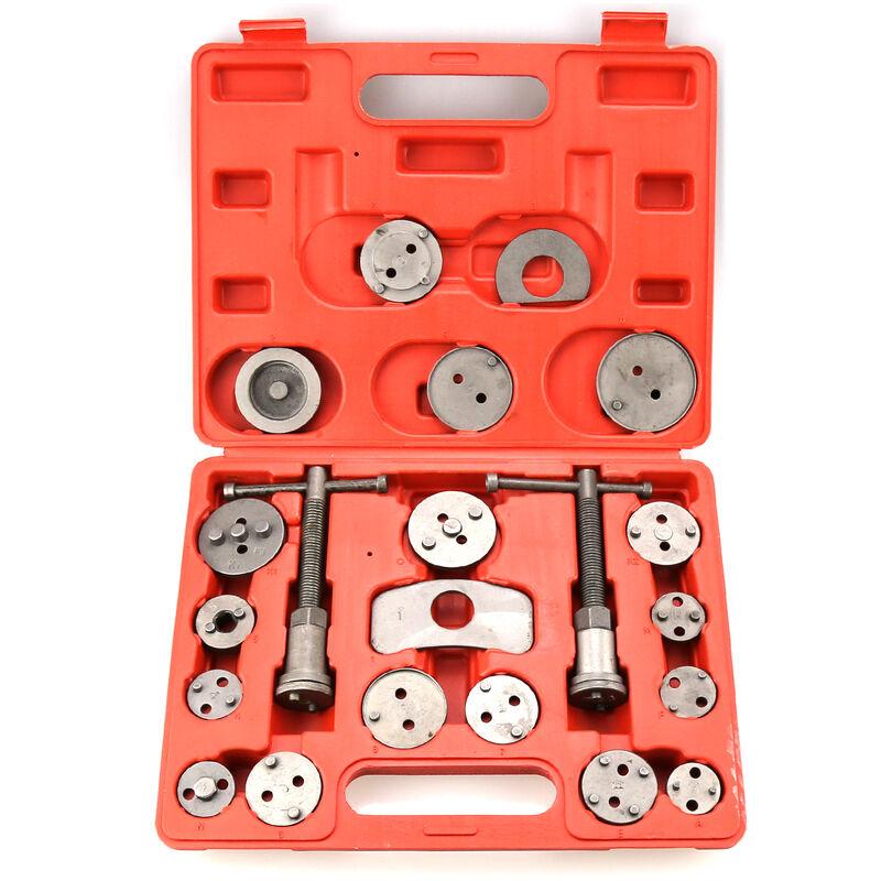 Kit de Réparation pour Repousse Piston, Set d'Outils pour Étrier de Frein, avec une mallette rouge, 21 pièces, Matériau: Acier C45