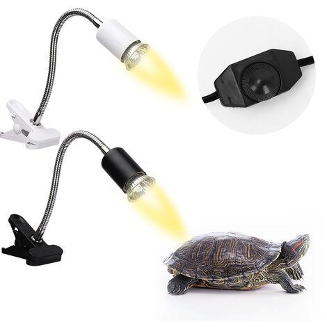 Reptile Lampe De Chaleur Tortoise Chaleur Lampe Basking Lampe De Chauffage Reglable Avec Clip Pour Reptiles Lizard, Blanc EU Sans ampoule