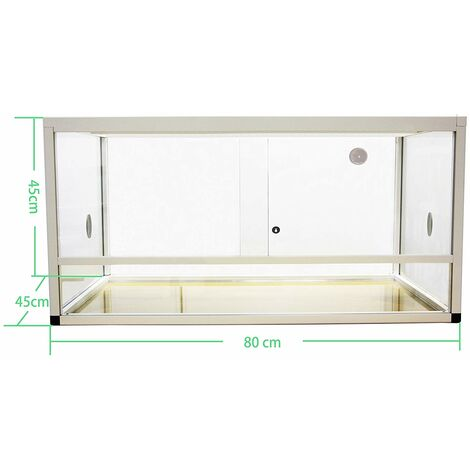 REPTILES PLANET Aluminium Elegance Terrarium pour Reptile/Amphibien Blanc 80 x 45 x 45 cm