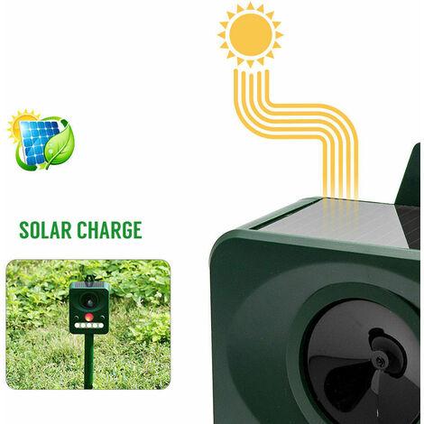 Répulsif à ultrasons, Écologique Ultrasonic Solar Powered Animal/Rodent Repeller,Chat/Renard/Rongeurs/Insectes Jardin, Panneau Solaire amorphe