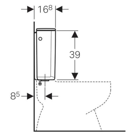 Réservoir apparent Geberit AP128, rinçage interrompable, alimentation par le bas à gauche ou à droite : Blanc alpin - Geberit