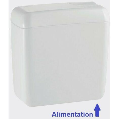 Réservoir chasse-d'eau de WC 6/9L attenant simple touche interrompable alimentation basse droite AP128 GEBERIT 128.014.11.1