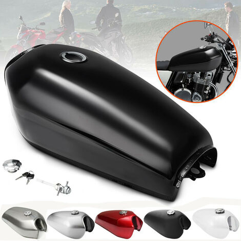 Réservoir d'essence de gaz de carburant de moto 9L 2.4 gallons pour Honda CG125 Cafe Racer ~ (noir mat)