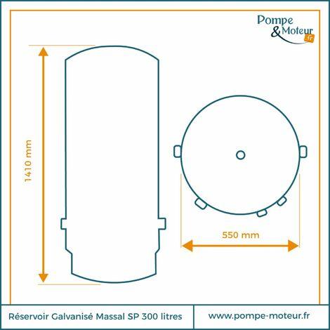 Réservoir Massal galva type A.C.S 300 litres 0-6 bars
