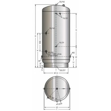 Réservoir Massal galva type A.C.S 500 litres 0-6 bars