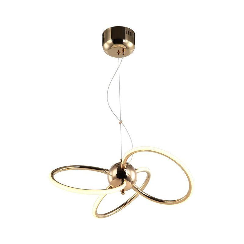 Homemania - Reseva Haengelampe - Kronleuchter - Deckenkronleuchter - Gold aus Metall, 42 x 42 x 110 cm, 3 x LED, 12W, 2520LM, 3000K
