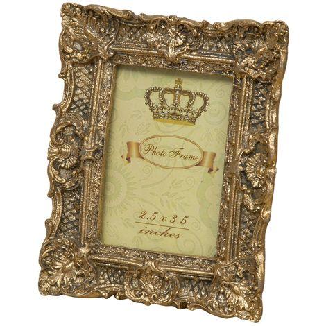 Resin antiqued gold finishing vertical/horizontal photo frame