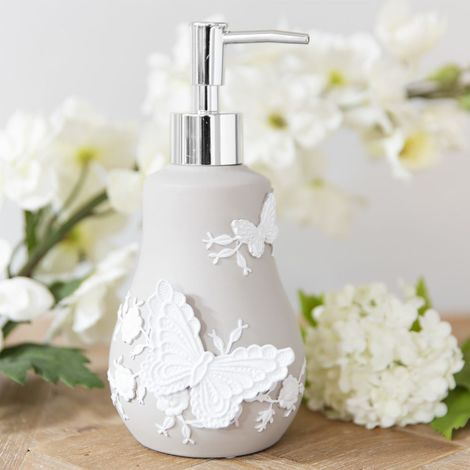 Resin Embroidered Style Grey & White Lotion Bottle
