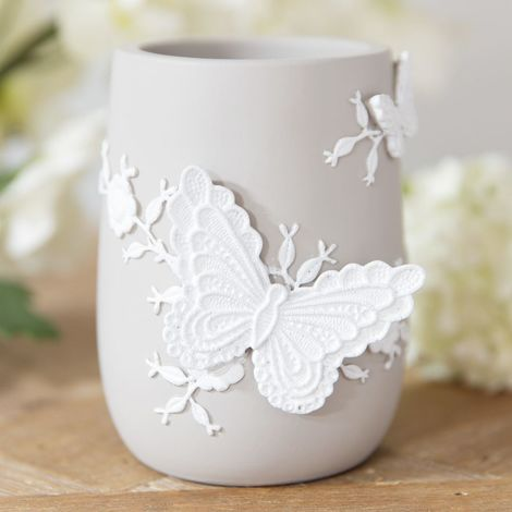 Resin Embroidered Style Grey & White Vase
