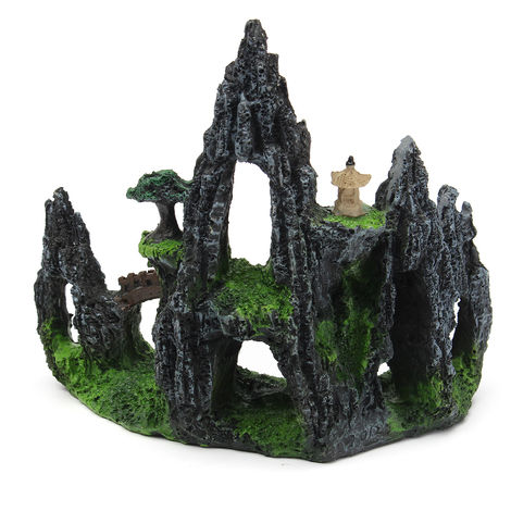 Resin Mountain View Cave Rock Stone Tree Ornament Aquarium Fish Tank
