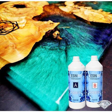 Resina Epossidica 1,6 Kg Trasparente Bicomponente A + B Effetto Acqua