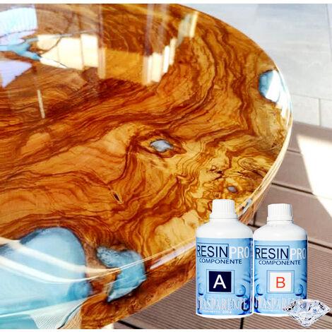 Resina Epossidica 320 Grammi Trasparente Bicomponente A + B Effetto Acqua