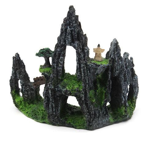 Resina, montaña, vista, cueva, roca, piedra, árbol, ornamento, acuario, pecera
