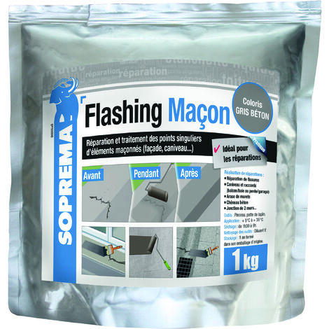 Résine de réparation des fissures - FLASHING MAÇON Gris béton - Sache de 1 KG