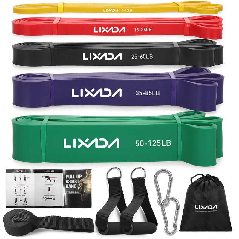 Image of Resistance Loop Bands Powerlifting Workout Exercise Stretch Bands, 5pcs bands set