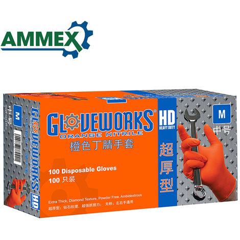 Resistente a los guantes de nitrilo de goma AMMEX, 100 piezas desechables guantes de goma gruesa ecido de aceite para limpieza Inicio Laboratorio de Alimentos Uso, M