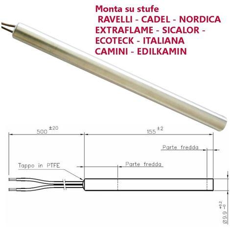 Resistenza candeletta stufa a pellet 9 9mm 300w 155mm for Stufa pellet usata 300 euro