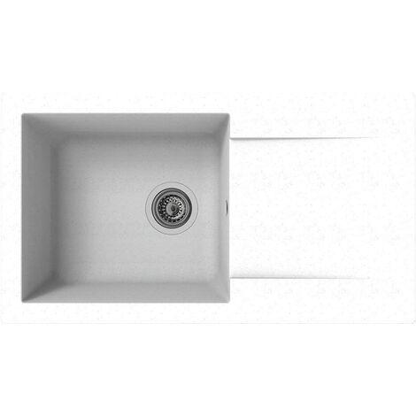 Respekta DENVER78X44W Évier 60 % de matériaux composites minéraux et fibres de verre 40 % de résine Blanc 78 x 44 cm