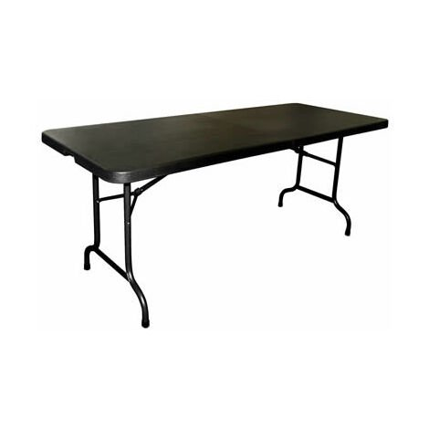 Restine 6Ft Black Middle Folding Portable Table Fully Assembled Commercial Quality