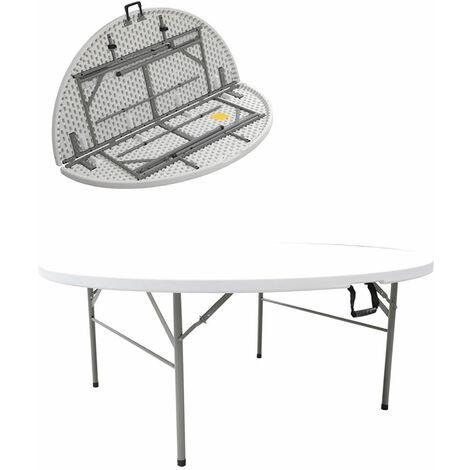 Restine Large Round Centre Fold Round Plastic Folding Table - 6Ft