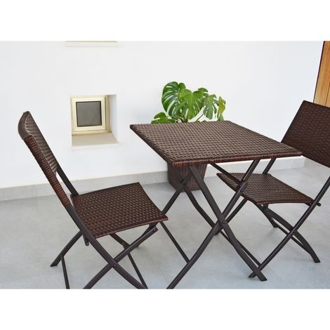 Restoset Conjutno de mesa y 2 sillas plegables para jardín y terraza en ratán sintético marrón - Kiefer Garden