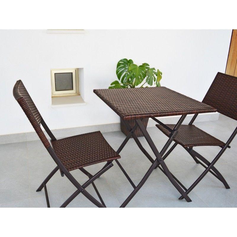 Restoset Conjutno De Mesa Y 2 Sillas Plegables Para Jardin Y Terraza