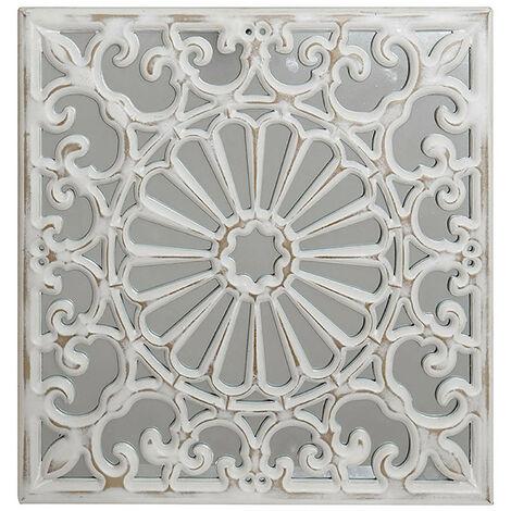 Retablo de Madera con Espejo, Mural Decorativo Pared Blanco. Modelo - A