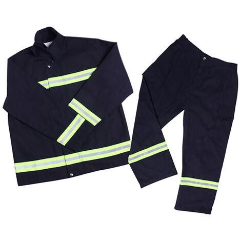 Retardante de llama de ropa resistente al fuego ropa en la manifestacion del fuego Ropa de proteccion refractaria Mantle pantalones Equipo de extincion de incendios, azul marino, 185cm