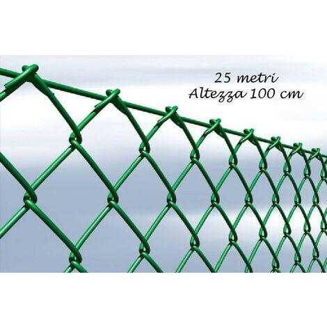 Rete Per Recinzione Altezza 2 Metri.Rete Recinzione 25 Metri Altezza 100 Plastificata Zincata