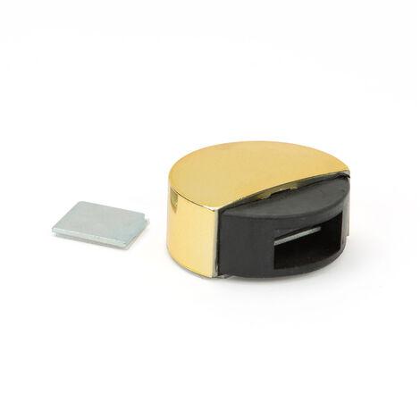 Retenedor de puerta con imán adhesivo marca REI, de estilo moderno, fabricado en oro y con acabado plástico.
