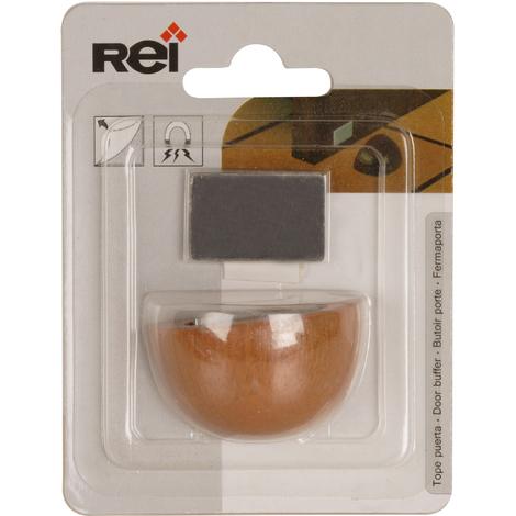 Retenedor de puerta con imán adhesivo marca REI, fabricado en madera, con acabado roble transparente y diseño redondeado