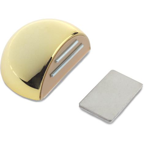 Retenedor de puerta con imán adhesivo marca REI, fabricado en plástico, con acabado oro y diseño redondeado