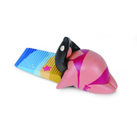 Retenedor de puerta en forma de cuña modelo MANOLISSIMA, fabricado en plástico y diseño exclusivo realizado por Manolissimos con figura de mujer en la playa
