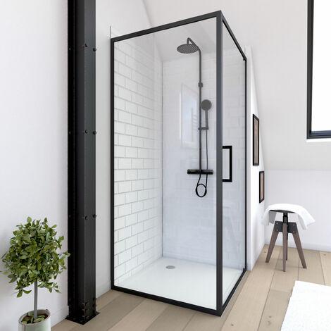 Retour pour Paroi pour douche - 80x200 cm - PROFILE NOIR MAT - verre transparent 6mm