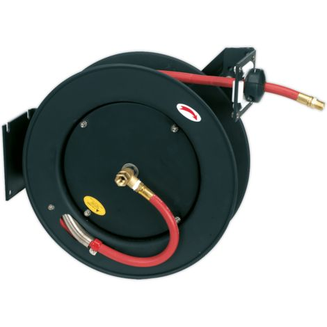 Retractable Air Hose Metal Reel 15m ??10mm ID Rubber Hose