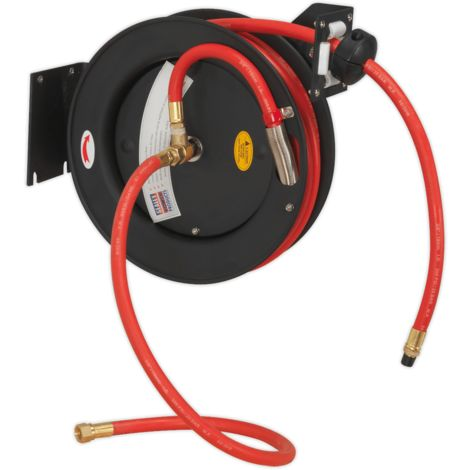 Retractable Air Hose Steel Reel 8m ??10mm ID Rubber Hose