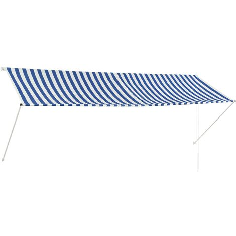 Retractable Awning 350x150 cm Blue and White