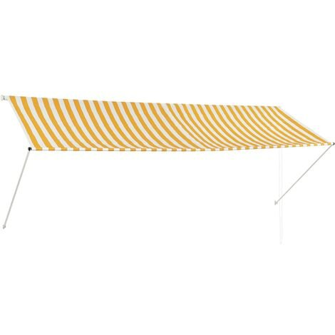 Retractable Awning 350x150 cm Yellow and White