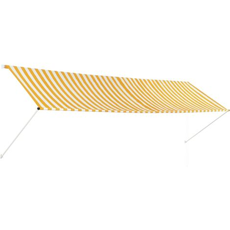 Retractable Awning 400x150 cm Yellow and White