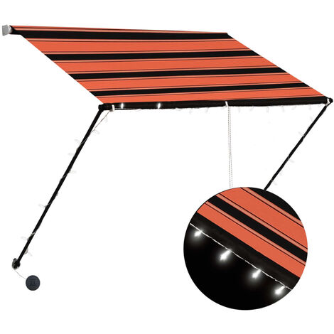Retractable Awning with LED 100x150 cm Orange and Brown