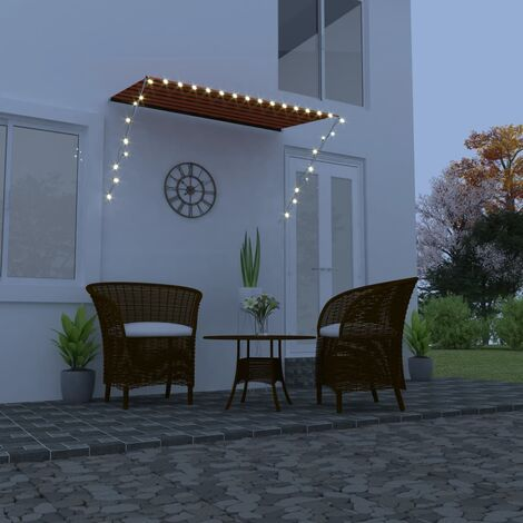 Retractable Awning with LED 250x150 cm Orange and Brown