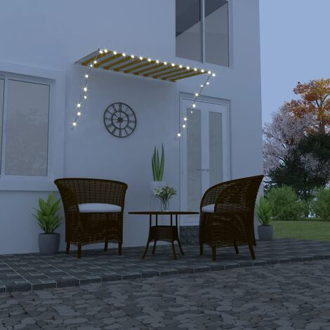 Retractable Awning with LED 250x150 cm Yellow and White