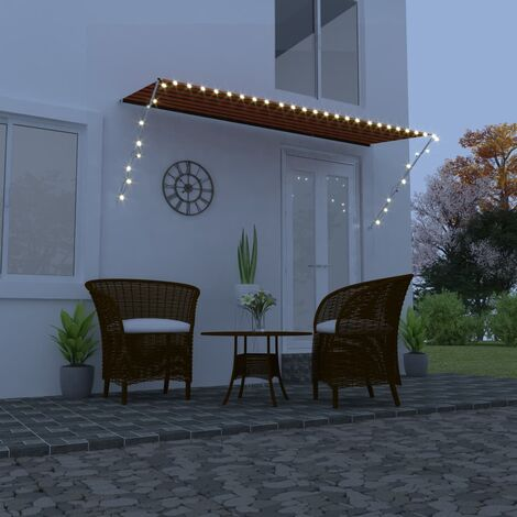 Retractable Awning with LED 300x150 cm Orange and Brown