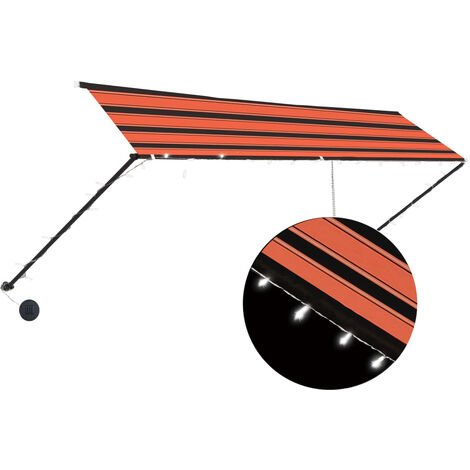 Retractable Awning with LED 400x150 cm Orange and Brown