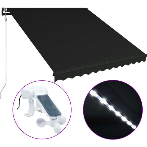 Retractable Awning with Wind Sensor & LED 300x250 cm Anthracite