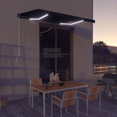 Retractable Awning with Wind Sensor & LED 350x250 cm Anthracite