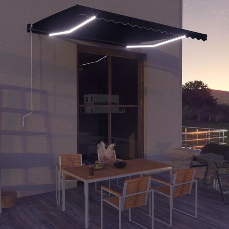 Retractable Awning with Wind Sensor & LED 400x300 cm Anthracite